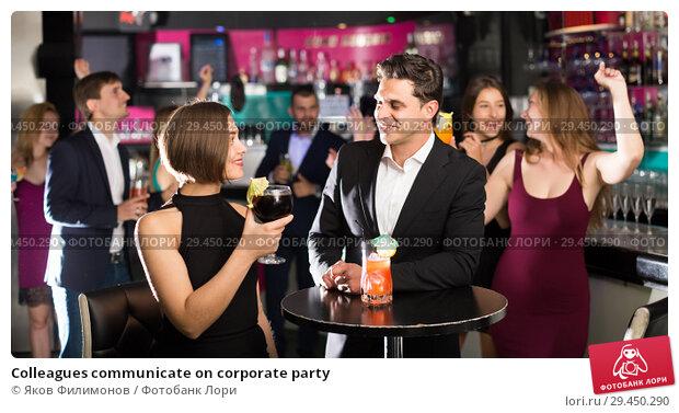 Купить «Colleagues communicate on corporate party», фото № 29450290, снято 20 апреля 2017 г. (c) Яков Филимонов / Фотобанк Лори