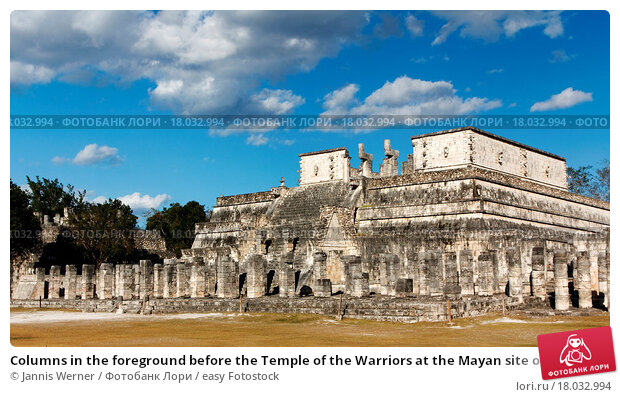 Купить «Columns in the foreground before the Temple of the Warriors at the Mayan site of Chichen Itza, Yucatan, Mexico», фото № 18032994, снято 8 июля 2020 г. (c) easy Fotostock / Фотобанк Лори