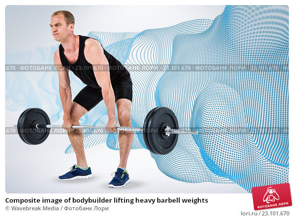 Купить «Composite image of bodybuilder lifting heavy barbell weights», фото № 23101670, снято 24 апреля 2019 г. (c) Wavebreak Media / Фотобанк Лори