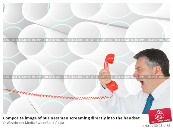 Купить «Composite image of businessman screaming directly into the handset », фото № 30031186, снято 1 ноября 2013 г. (c) Wavebreak Media / Фотобанк Лори
