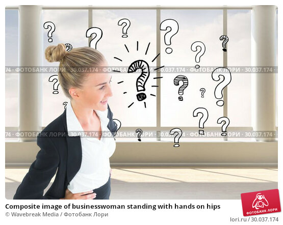 Купить «Composite image of businesswoman standing with hands on hips», фото № 30037174, снято 9 ноября 2013 г. (c) Wavebreak Media / Фотобанк Лори