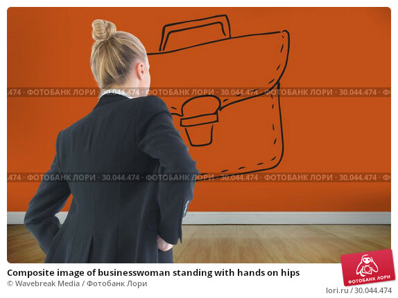 Купить «Composite image of businesswoman standing with hands on hips», фото № 30044474, снято 11 ноября 2013 г. (c) Wavebreak Media / Фотобанк Лори
