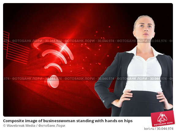 Купить «Composite image of businesswoman standing with hands on hips», фото № 30044974, снято 11 ноября 2013 г. (c) Wavebreak Media / Фотобанк Лори