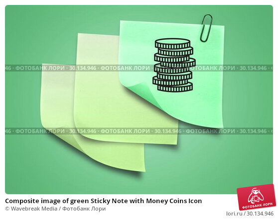 Composite image of green Sticky Note with Money Coins Icon. Стоковое фото, агентство Wavebreak Media / Фотобанк Лори
