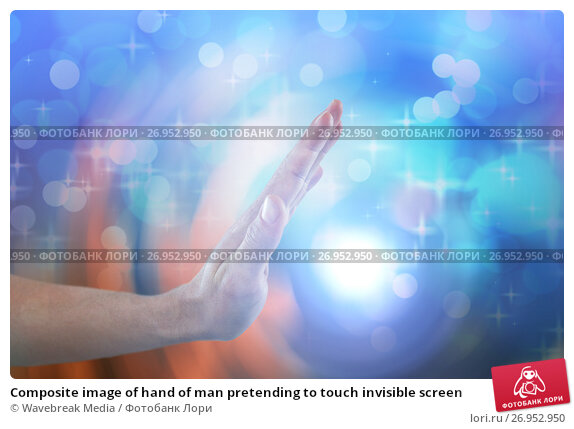 Composite image of hand of man pretending to touch invisible screen, фото № 26952950, снято 18 октября 2017 г. (c) Wavebreak Media / Фотобанк Лори