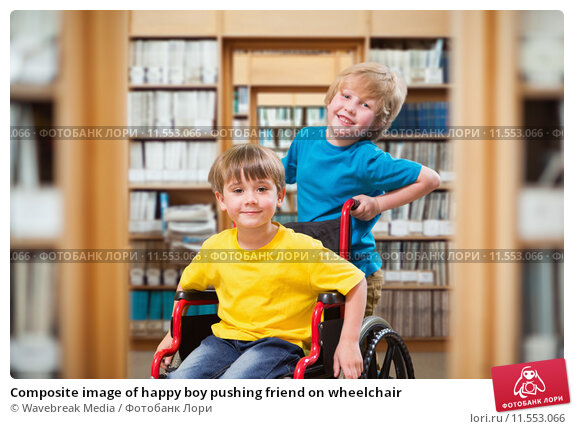 Купить «Composite image of happy boy pushing friend on wheelchair», фото № 11553066, снято 22 апреля 2019 г. (c) Wavebreak Media / Фотобанк Лори