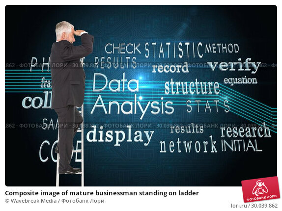 Купить «Composite image of mature businessman standing on ladder», фото № 30039862, снято 10 ноября 2013 г. (c) Wavebreak Media / Фотобанк Лори