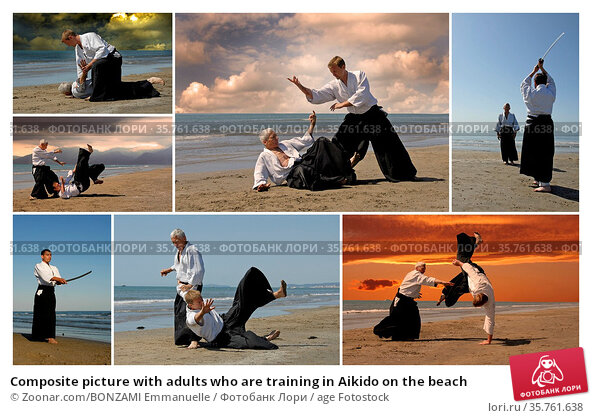 Composite picture with adults who are training in Aikido on the beach. Стоковое фото, фотограф Zoonar.com/BONZAMI Emmanuelle / age Fotostock / Фотобанк Лори