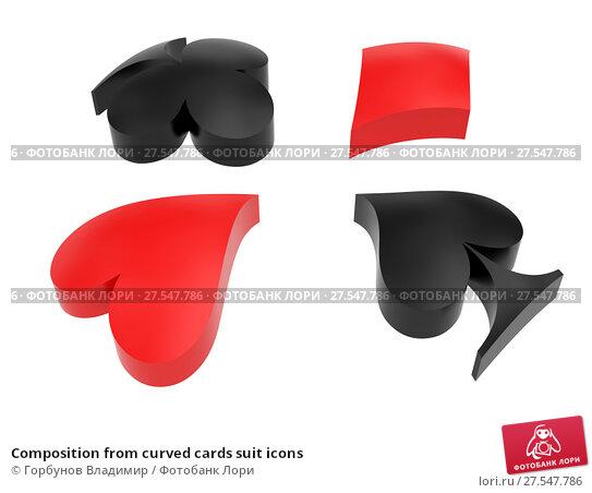 Купить «Composition from curved cards suit icons», иллюстрация № 27547786 (c) Горбунов Владимир / Фотобанк Лори