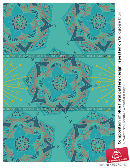 Composition of blue floral pattern design repeated on turquoise blue background. Стоковое фото, агентство Wavebreak Media / Фотобанк Лори