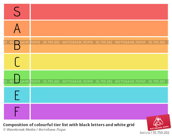 Composition of colourful tier list with black letters and white grid. Стоковое фото, агентство Wavebreak Media / Фотобанк Лори