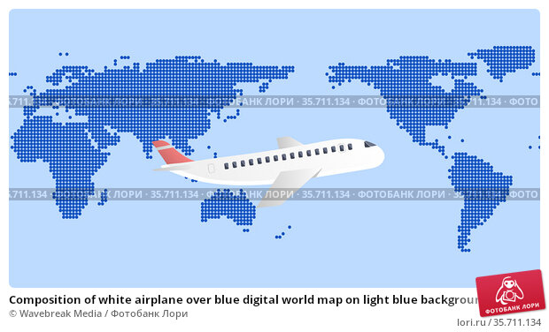 Composition of white airplane over blue digital world map on light blue background. Стоковое фото, агентство Wavebreak Media / Фотобанк Лори