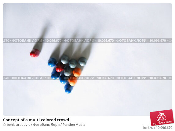 Купить «Concept of a multi-colored crowd», фото № 10096670, снято 11 сентября 2019 г. (c) PantherMedia / Фотобанк Лори