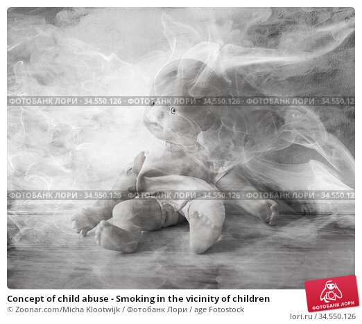 Concept of child abuse - Smoking in the vicinity of children. Стоковое фото, фотограф Zoonar.com/Micha Klootwijk / age Fotostock / Фотобанк Лори