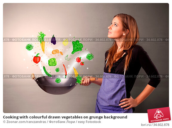 Cooking with colourful drawn vegetables on grunge background. Стоковое фото, фотограф Zoonar.com/ranczandras / easy Fotostock / Фотобанк Лори