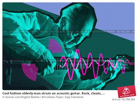 Cool fashion elderly man strum an acoustic guitar. Rock, classic,... Стоковое фото, фотограф Zoonar.com/Evgenii Bashta / easy Fotostock / Фотобанк Лори