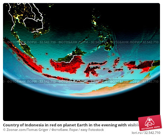 Купить «Country of Indonesia in red on planet Earth in the evening with visible border lines and city lights. 3D illustration. Elements of this image furnished by NASA.», фото № 32542710, снято 10 декабря 2019 г. (c) easy Fotostock / Фотобанк Лори