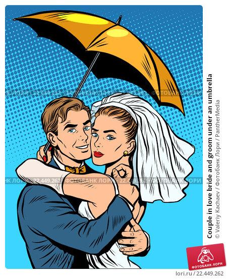 Купить «Couple in love bride and groom under an umbrella», иллюстрация № 22449262 (c) PantherMedia / Фотобанк Лори