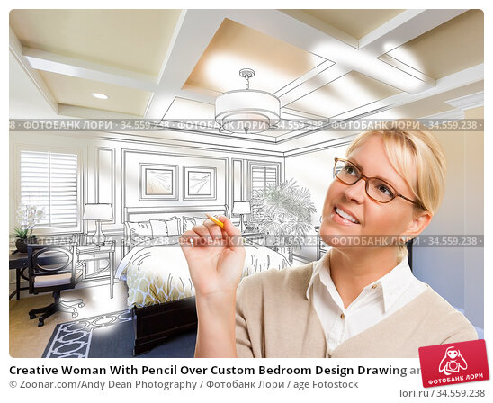 Creative Woman With Pencil Over Custom Bedroom Design Drawing and... Стоковое фото, фотограф Zoonar.com/Andy Dean Photography / age Fotostock / Фотобанк Лори