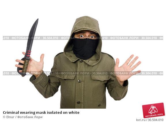 Купить «Criminal wearing mask isolated on white», фото № 30504010, снято 19 декабря 2014 г. (c) Elnur / Фотобанк Лори
