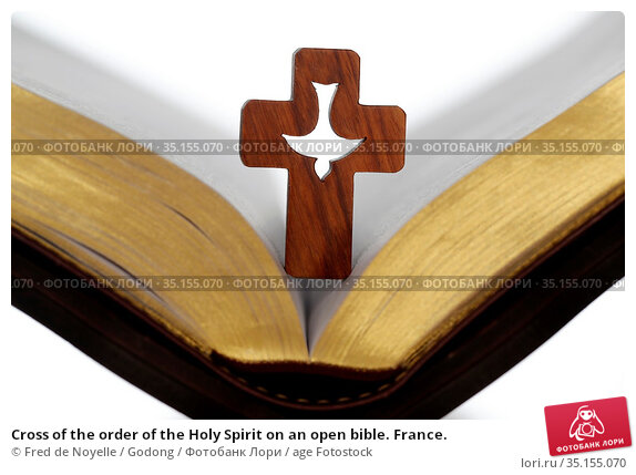 Cross of the order of the Holy Spirit on an open bible. France. Стоковое фото, фотограф Fred de Noyelle / Godong / age Fotostock / Фотобанк Лори