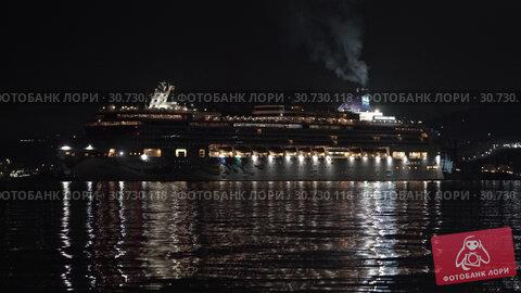 Купить «Cruise Liner Norwegian Jewel sailing in Sea Port of Pacific Ocean at dark night», видеоролик № 30730118, снято 9 мая 2019 г. (c) А. А. Пирагис / Фотобанк Лори