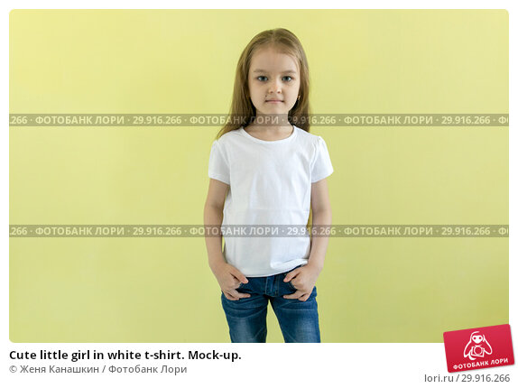 Купить «Cute little girl in white t-shirt. Mock-up.», фото № 29916266, снято 15 мая 2018 г. (c) Женя Канашкин / Фотобанк Лори