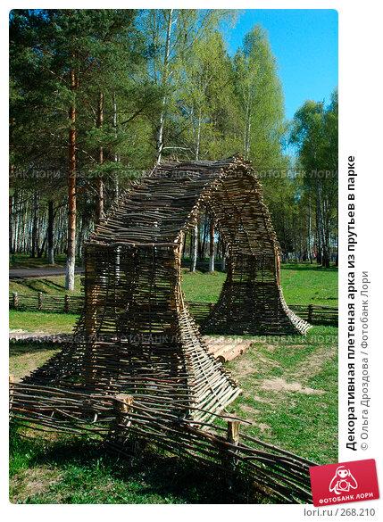 Декоративная плетеная арка из прутьев в парке, фото № 268210, снято 8 мая 2006 г. (c) Ольга Дроздова / Фотобанк Лори