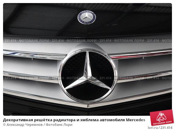 Декоративная решётка радиатора и эмблема автомобиля Mercedes, фото № 231414, снято 26 февраля 2008 г. (c) Александр Черемнов / Фотобанк Лори