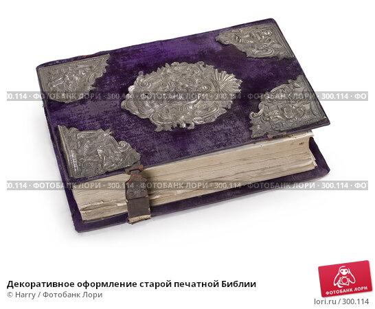 Купить «Декоративное оформление старой печатной Библии», фото № 300114, снято 18 апреля 2008 г. (c) Harry / Фотобанк Лори