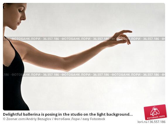 Delightful ballerina is posing in the studio on the light background... Стоковое фото, фотограф Zoonar.com/Andriy Bezuglov / easy Fotostock / Фотобанк Лори