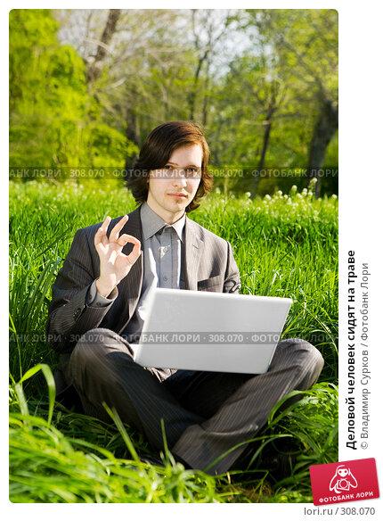 Деловой человек сидят на траве, фото № 308070, снято 26 апреля 2008 г. (c) Владимир Сурков / Фотобанк Лори
