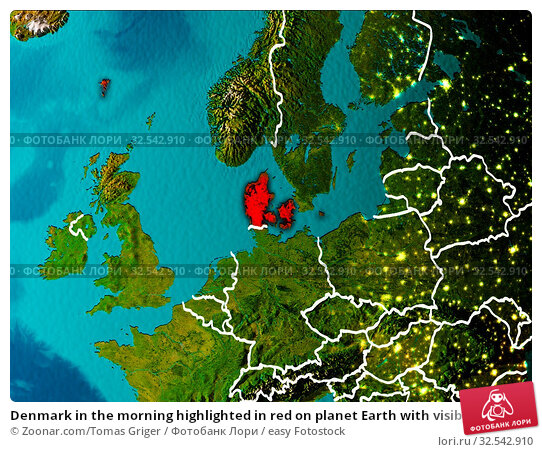 Купить «Denmark in the morning highlighted in red on planet Earth with visible border lines and city lights. 3D illustration. Elements of this image furnished by NASA.», фото № 32542910, снято 9 декабря 2019 г. (c) easy Fotostock / Фотобанк Лори