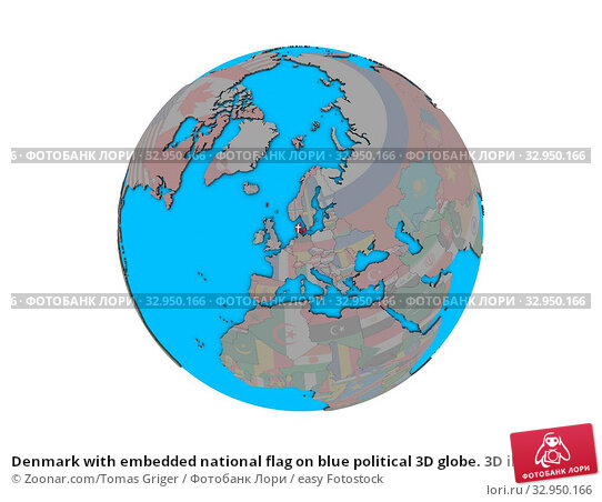 Denmark with embedded national flag on blue political 3D globe. 3D illustration isolated on white background. Стоковое фото, фотограф Zoonar.com/Tomas Griger / easy Fotostock / Фотобанк Лори