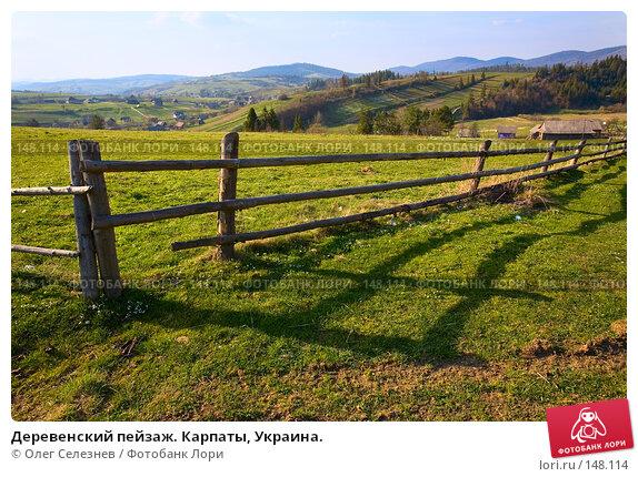 Купить «Деревенский пейзаж. Карпаты, Украина.», фото № 148114, снято 26 апреля 2007 г. (c) Олег Селезнев / Фотобанк Лори