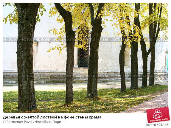 Деревья с желтой листвой на фоне стены храма, фото № 94146, снято 19 сентября 2007 г. (c) Parmenov Pavel / Фотобанк Лори