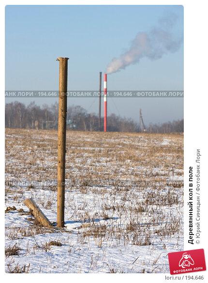 Деревянный кол в поле, фото № 194646, снято 8 января 2008 г. (c) Юрий Синицын / Фотобанк Лори