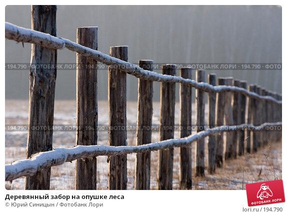 Деревянный забор на опушке леса, фото № 194790, снято 8 января 2008 г. (c) Юрий Синицын / Фотобанк Лори