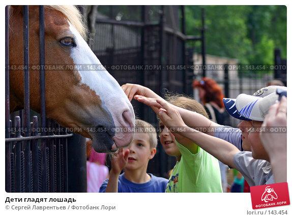 Дети гладят лошадь, фото № 143454, снято 24 июня 2004 г. (c) Сергей Лаврентьев / Фотобанк Лори