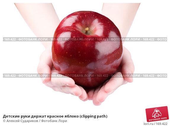 Детские руки держат красное яблоко (clipping path), фото № 169422, снято 4 января 2008 г. (c) Алексей Судариков / Фотобанк Лори