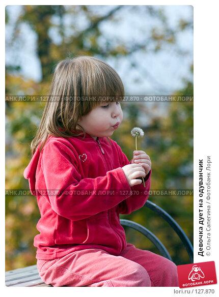 Купить «Девочка дует на одуванчик», фото № 127870, снято 2 октября 2007 г. (c) Ольга Сапегина / Фотобанк Лори