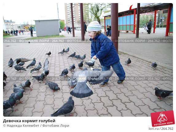 Девочка кормит голубей, фото № 264762, снято 13 мая 2007 г. (c) Надежда Келембет / Фотобанк Лори