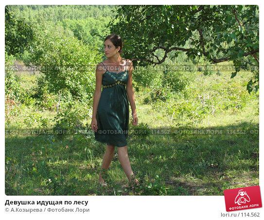 Купить «Девушка идущая по лесу», фото № 114562, снято 26 августа 2007 г. (c) A.Козырева / Фотобанк Лори
