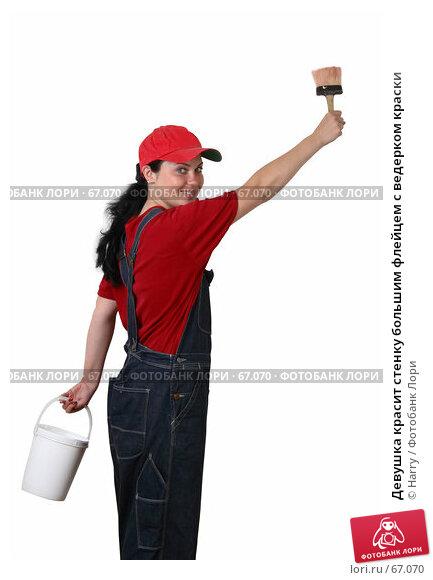 Девушка красит стенку большим флейцем с ведерком краски, фото № 67070, снято 21 июня 2007 г. (c) Harry / Фотобанк Лори