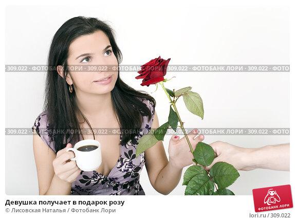 Девушка получает в подарок розу, фото № 309022, снято 11 ноября 2007 г. (c) Лисовская Наталья / Фотобанк Лори