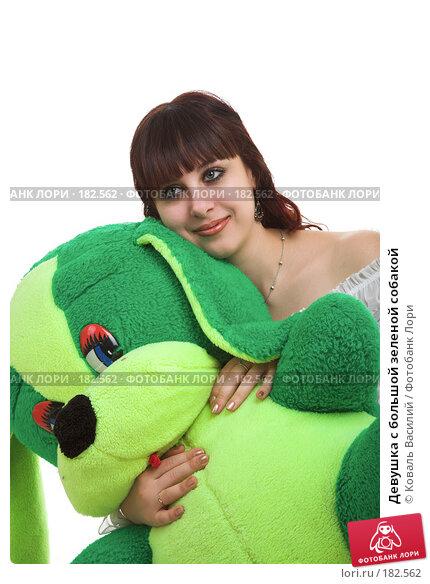 Девушка с большой зеленой собакой, фото № 182562, снято 8 декабря 2006 г. (c) Коваль Василий / Фотобанк Лори