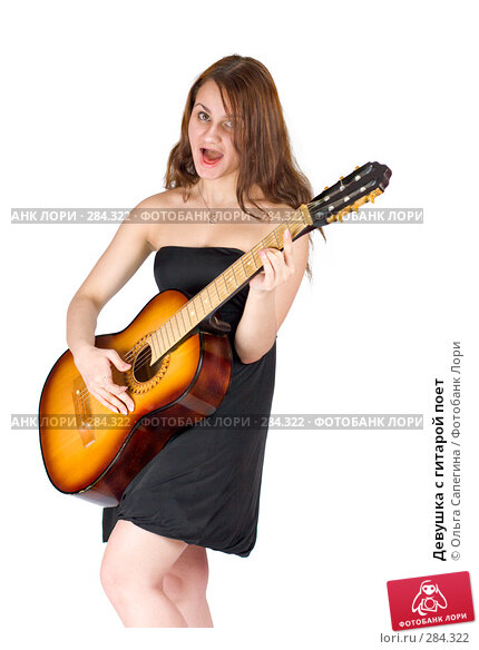 Девушка с гитарой поет, фото № 284322, снято 8 ноября 2007 г. (c) Ольга Сапегина / Фотобанк Лори