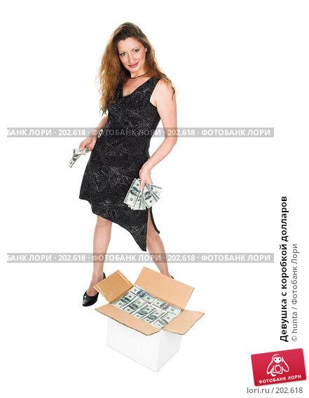Девушка с коробкой долларов, фото № 202618, снято 5 августа 2007 г. (c) hunta / Фотобанк Лори