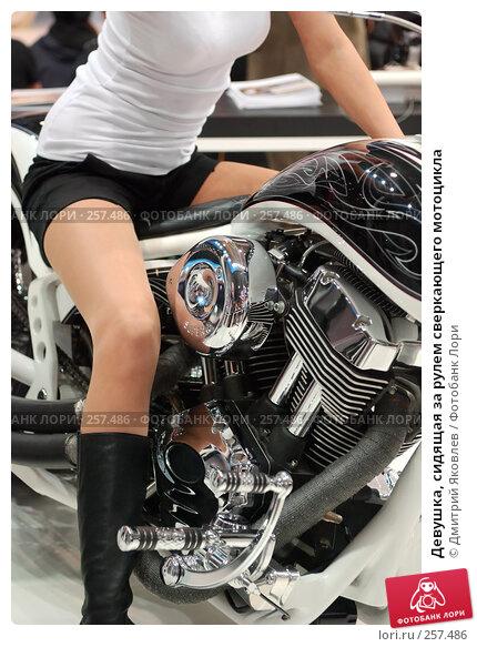 Девушка, сидящая за рулем сверкающего мотоцикла, фото № 257486, снято 10 апреля 2008 г. (c) Дмитрий Яковлев / Фотобанк Лори
