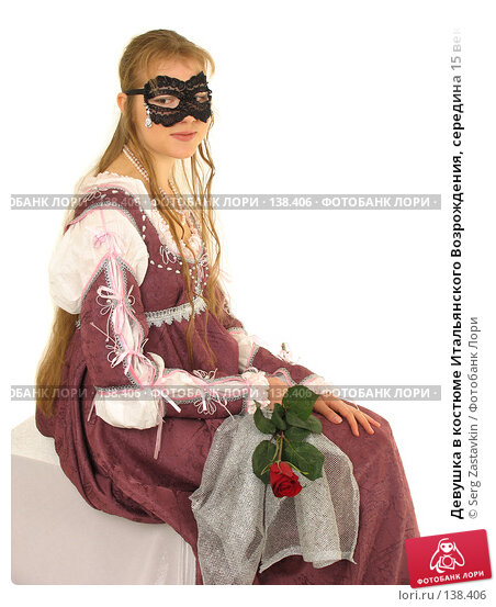 Девушка в костюме Итальянского Возрождения, середина 15 века, так называемый «костюм Джульетты», высшее сословие, фото № 138406, снято 7 января 2006 г. (c) Serg Zastavkin / Фотобанк Лори